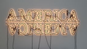Light sign. America fluorescent united States Stock Images