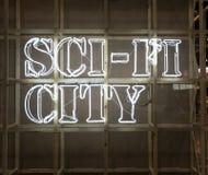 Light signage. Sci-fi city light signage royalty free stock photography