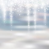Light silver and white christmas background with icicle snowfall Royalty Free Stock Photos
