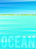Light simplified ocean background with tropical island. Vector illustration, eps10. Royalty Free Stock Photos
