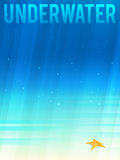 Light simplified underwater background with starfish. Vector illustration, eps10. Stock Images