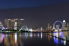 Light of Singapore city and Marina Bay Sands at night. Singapore city, Singapore - September 22, 2016: Light of Singapore city and Marina Bay Sands at night stock image