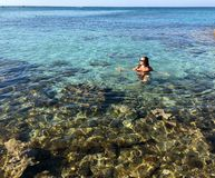 Light-skinned girl in black swimsuit swims in the clear sea with colored stones and turquoise water, top view. Light-skinned girl in a black swimsuit lying on royalty free stock image