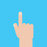 Light-skinned hand with the index finger. The index finger of his right hand. It indicates something. Icon of the right hand with Royalty Free Stock Images