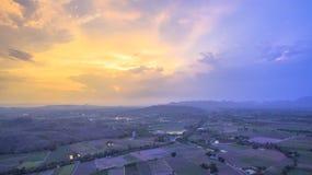 Light through sky above corn fields Stock Image