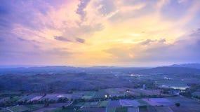 Light through sky above corn fields Stock Photography