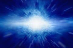 Light from sky. Bright blue light looks like explosion from dark sky Royalty Free Stock Image