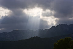 Light from the sky, mountain view Royalty Free Stock Images
