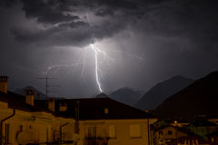 Light in the sky. Ossola Valley. Domodossola, ossola valley. light in the night. On storm. Beautiful night. Ossola Valley royalty free stock photography