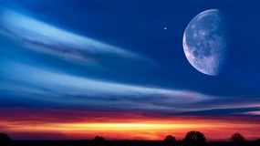 Light from sky . Religion background . Beautiful Sunset Moon Sky Background Colorful Clouds . Full moon background royalty free stock images