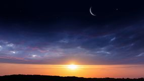 Light from sky . Religion background . The sky at night with stars. New moon . Ramadan background . Prayer time . Dramatic nature background . Arab night stock photo