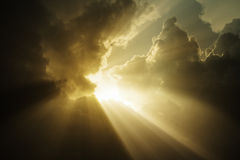The light from the sky in a storm. The light from the sky on a cloudy day storm 3d rendering Royalty Free Stock Photo