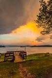 light through the sky to the lake Royalty Free Stock Photos