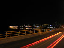 Light smears on Tay Road Bridge, Dundee. Scotland Stock Photo