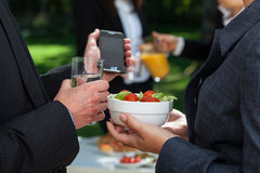 Light snack for business lunch. Business woman holding light snack for business lunch Royalty Free Stock Photo