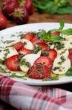 Strawberry caprese with mozzarella Royalty Free Stock Photos