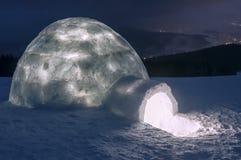 Light in snow igloo Royalty Free Stock Photo