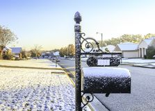 Light Snow in Montgomery Alabama. Rare snow in Montgomery, Alabama lightly caps neighborhood.  The last snow in this part of the city was 2 or 3 years ago Royalty Free Stock Photography