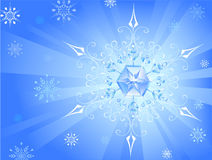 Light snowflake. Bright patterned snowflake sparkles on a goal from radiant and shiny background Royalty Free Illustration