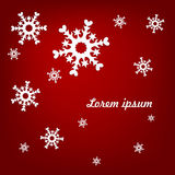 Light snowflakes on a red background. New Year Stock Illustration