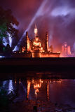 Light and sound showing in Loy Krathong festival. Stock Photography