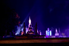 Light and sound showing in Loy Krathong festival. Stock Image