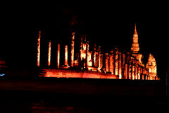 Light and sound showing in Loy Krathong festival. Stock Photo