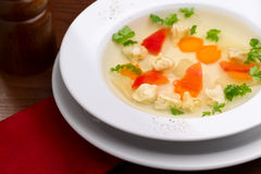 Soup with ravioli Royalty Free Stock Images
