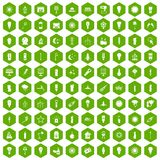 100 light source icons hexagon green. 100 light source icons set in green hexagon isolated vector illustration Royalty Free Stock Photo
