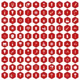 100 light source icons hexagon red. 100 light source icons set in red hexagon isolated vector illustration Stock Photography