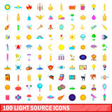 100 light source icons set, cartoon style. 100 light source icons set in cartoon style for any design vector illustration Stock Illustration