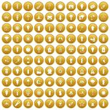 100 light source icons set gold. 100 light source icons set in gold circle isolated on white vectr illustration Stock Illustration