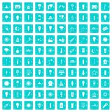 100 light source icons set grunge blue Stock Photography