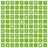 100 light source icons set grunge green Royalty Free Stock Images