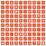 100 light source icons set grunge orange. 100 light source icons set in grunge style orange color isolated on white background vector illustration Stock Photography