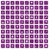 100 light source icons set grunge purple. 100 light source icons set in grunge style purple color isolated on white background vector illustration Royalty Free Illustration