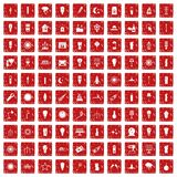 100 light source icons set grunge red. 100 light source icons set in grunge style red color isolated on white background vector illustration Royalty Free Stock Image