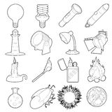 Light source icons set, outline style Royalty Free Stock Images