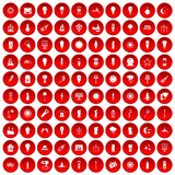 100 light source icons set red. 100 light source icons set in red circle isolated on white vectr illustration Stock Images