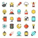 Light source from natural and daily life icon. Such as traffic light, ramadan lamp, galaxy, angler fish, fluorescent tube, firefly, filled outline Royalty Free Stock Photos