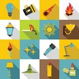 Light source symbols icons set, flat style. Light source symbols icons set. Flat illustration of 16 light source symbols items vector icons for web Stock Images