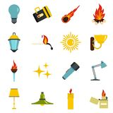 Light source symbols icons set in flat style. Isolated vector illustration Stock Photography