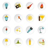 Light source symbols icons set in flat style. Isolated vector icons set illustration Royalty Free Stock Photo