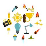 Light source symbols icons set in flat style. Isolated vector illustration Royalty Free Stock Photo