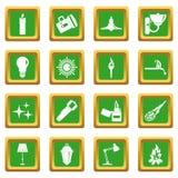 Light source symbols icons set green. Light source symbols icons set in green color isolated vector illustration for web and any design Stock Image