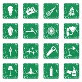 Light source symbols icons set grunge. Light source symbols icons set in grunge style green isolated vector illustration Stock Images