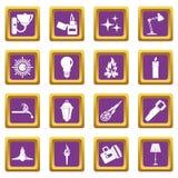 Light source symbols icons set purple. Light source symbols icons set in purple color isolated vector illustration for web and any design Stock Photography