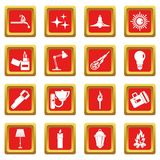 Light source symbols icons set red. Light source symbols icons set in red color isolated vector illustration for web and any design Royalty Free Stock Photography