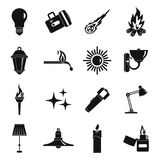 Light source symbols icons set, simple style. Light source symbols icons set. Simple illustration of 16 light source symbols items vector icons for web Stock Images