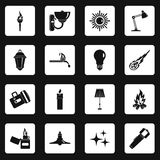 Light source symbols icons set squares vector Stock Image